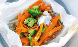 Karotten, Brokkoli und Kichererbsen im Versteck