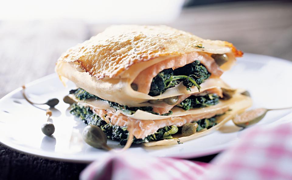 Lachs Spinat Lasagne Mit Kapern Rezept Gustoat
