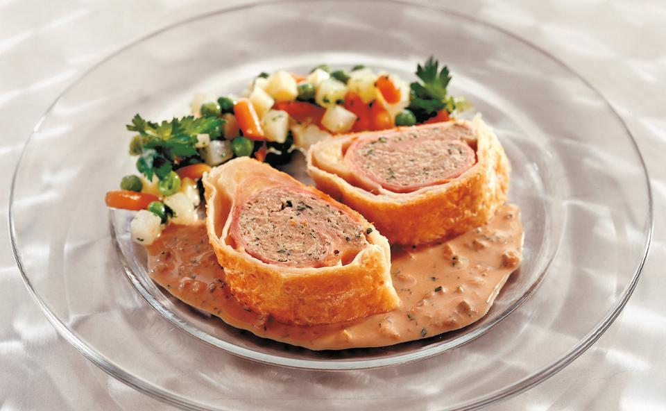 Blätterteig Fleischroulade Mit Schinken Und Käse Rezept Gustoat
